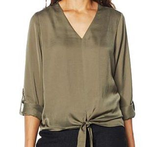 NWT HSN G by Giuliana Hammered Satin Tie-Front Blo